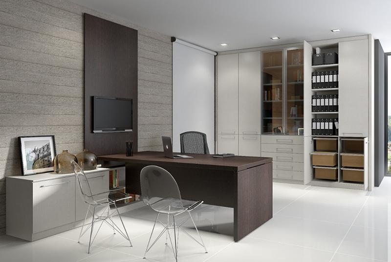 家具代加工:小书房能够那样设计方案,订制柜配搭写字台很好用